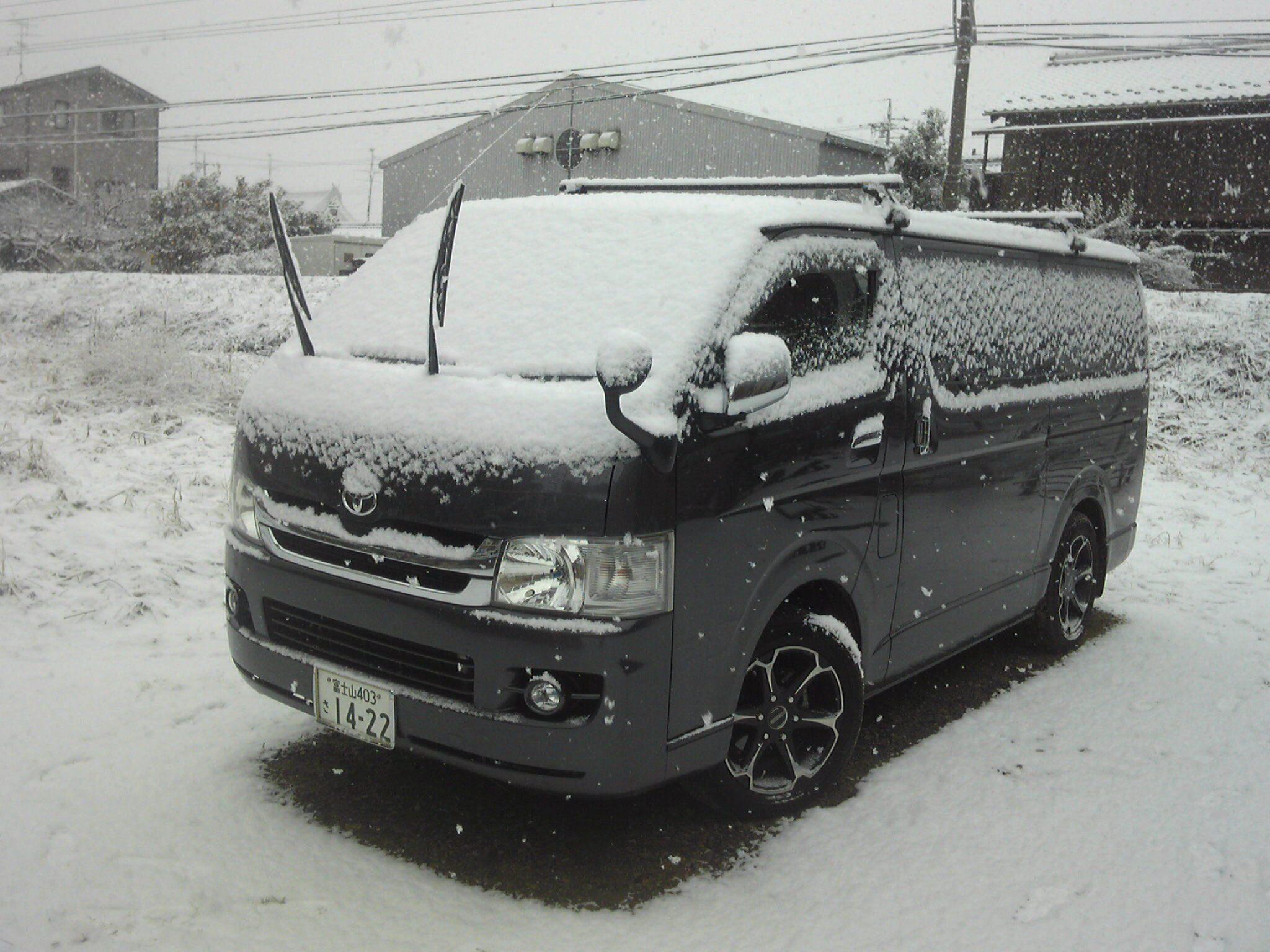 帰省先での雪
